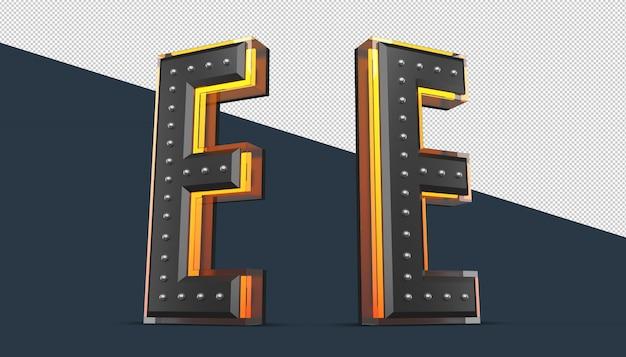 Alphabet 3d avec décoration de broche et effet néon