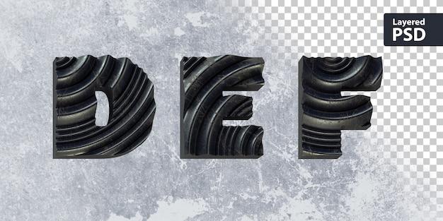 Alphabet 3d avec forme ondulée
