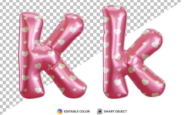 Alphabet de ballon 3d lettre k hélium rose avec motif d'amour, majuscules et minuscules