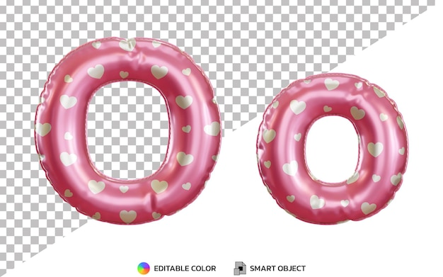 Alphabet de ballon 3d lettre o rose hélium, majuscules et minuscules
