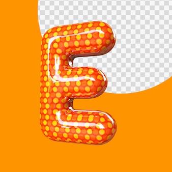 Alphabet de ballon en feuille d'hélium 3d réaliste lettre e