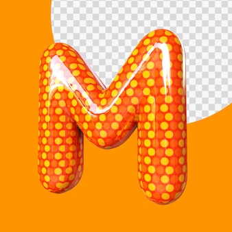 Alphabet de ballon de feuille d'hélium 3d réaliste lettre m