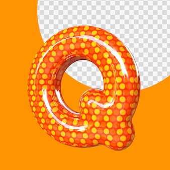 Alphabet de ballon en feuille d'hélium 3d réaliste lettre q