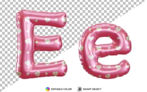 Alphabet de ballon en feuille d'hélium rose 3d lettre e pour la saint-valentin, majuscules et minuscules