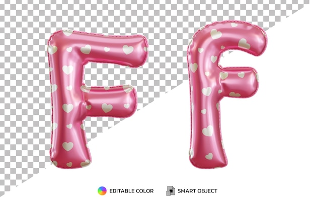 Alphabet de ballon en feuille d'hélium rose 3d lettre f avec motif d'amour, majuscules et minuscules