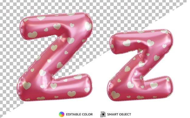 Alphabet de ballon en feuille d'hélium rose 3d lettre z, majuscules et minuscules