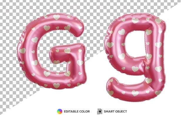 Alphabet de ballon en feuille d'hélium rose 3d réaliste lettre g avec majuscules et minuscules