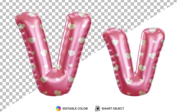 Alphabet de ballon en feuille d'hélium rose lettre v 3d avec motif d'amour pour la saint-valentin, majuscules et minuscules