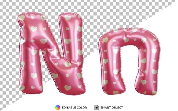 Alphabet de ballon en feuille d'hélium rose réaliste 3d lettre n avec majuscules et minuscules