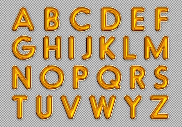 Alphabet de ballons dorés