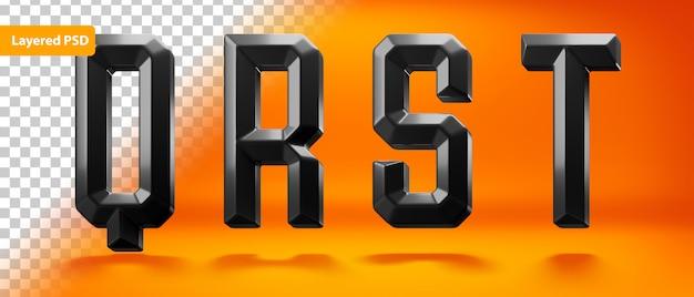 Alphabet brillant noir avec forme bordée