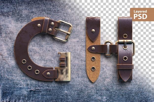 Alphabet en ceinture en cuir vintage
