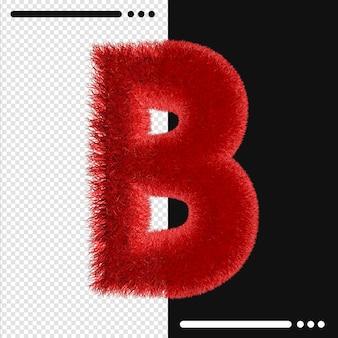Alphabet de conception de fourrure b en rendu 3d isolé