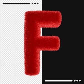 Alphabet de conception de fourrure f en rendu 3d isolé