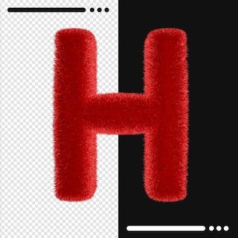Alphabet de conception de fourrure h en rendu 3d isolé
