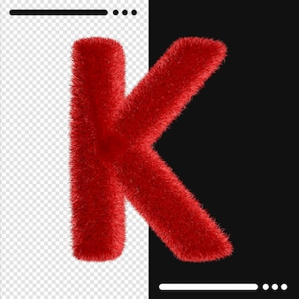 Alphabet de conception de fourrure k en rendu 3d isolé