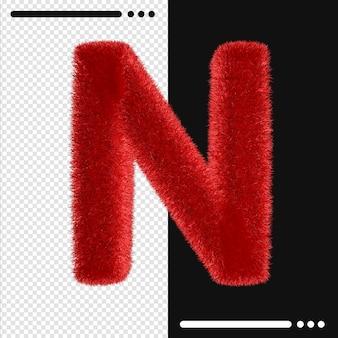 Alphabet de conception de fourrure n en rendu 3d isolé