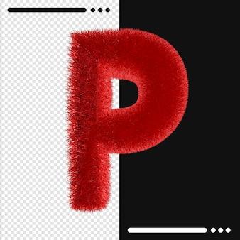Alphabet de conception de fourrure p en rendu 3d isolé