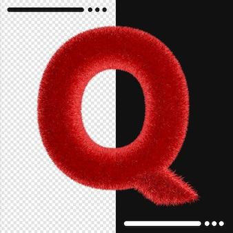 Alphabet de conception de fourrure q en rendu 3d isolé