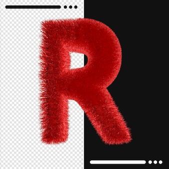 Alphabet de conception de fourrure r en rendu 3d isolé