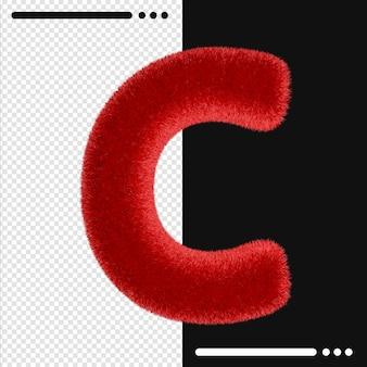 Alphabet de conception de fourrure c en rendu 3d isolé