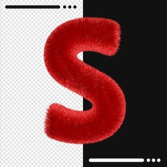 Alphabet de conception de fourrure s en rendu 3d isolé