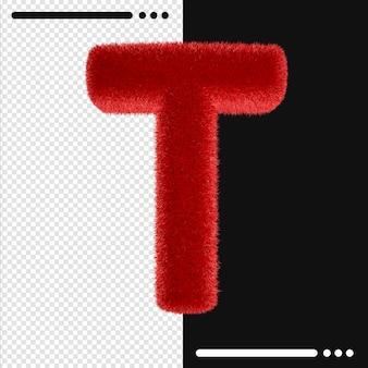 Alphabet de conception de fourrure t en rendu 3d isolé