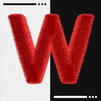 Alphabet de conception de fourrure w en rendu 3d isolé