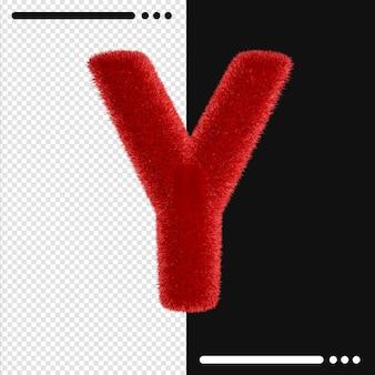 Alphabet de conception de fourrure y en rendu 3d isolé
