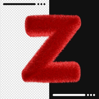 Alphabet de conception de fourrure z en rendu 3d isolé
