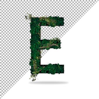 Alphabet e avec effet feuille 3d en psd avec fond transparent