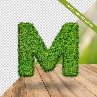 Alphabet effet herbe 3d m avec fond isolé