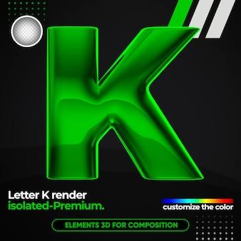 Alphabet lettre métallique réaliste dans le rendu 3d