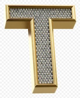 Alphabet d'or de luxe avec des diamants lettre t image de rendu 3d isolé