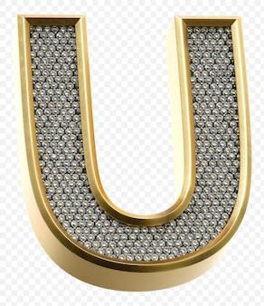 Alphabet d'or de luxe avec des diamants lettre u image de rendu 3d isolé