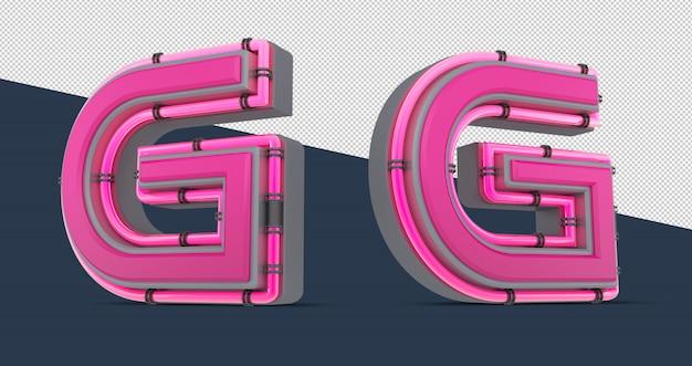 Alphabet rose 3d avec néon
