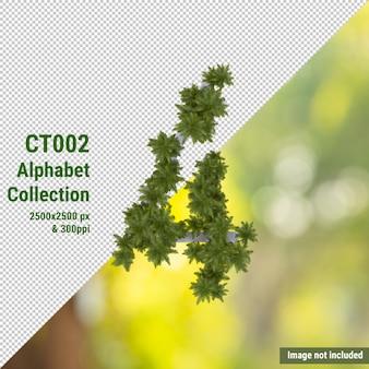 Alphabet vertical de cocotier et feuilles vertes et blanches