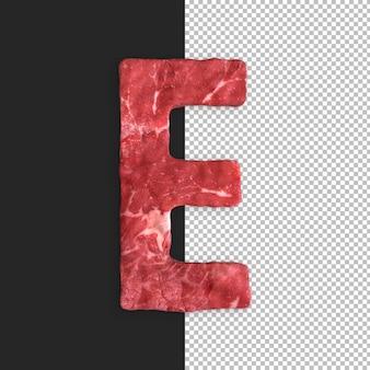 Alphabet de viande sur fond noir, lettre e