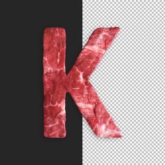 Alphabet de viande sur fond noir, lettre k