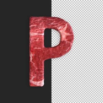 Alphabet de viande sur fond noir, lettre p