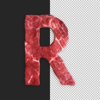 Alphabet de viande sur fond noir, lettre r