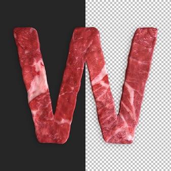 Alphabet de viande sur fond noir, lettre w