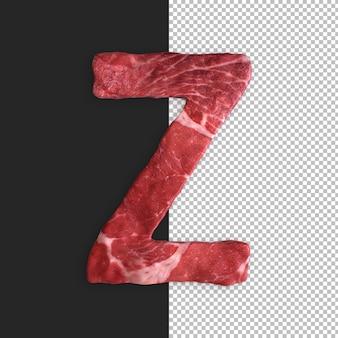 Alphabet de viande sur fond noir, lettre z