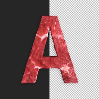Alphabet de viande sur fond noir, lettre a