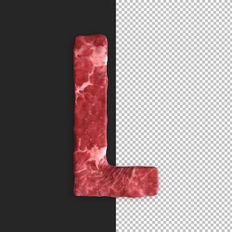 Alphabet de viande sur fond noir, lettre l