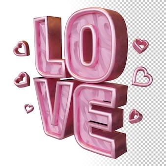 Amour 3d render bold lettre isolée dans le rendu 3d