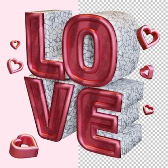 Amour 3d rendre gras lettre isolée