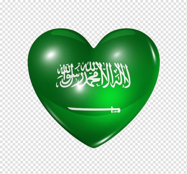 Amour arabie saoudite symbole 3d coeur drapeau icône isolé sur blanc avec un tracé de détourage