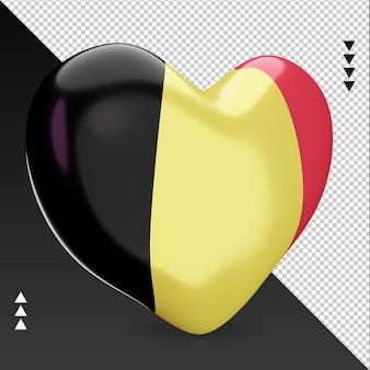 Amour drapeau belgique foyer rendu 3d vue gauche