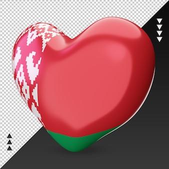 Amour drapeau biélorussie foyer 3d rendu vue droite